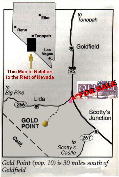 Map To Gold Point - Free Transportation Between Gold Point & the Cottontail Airstrip